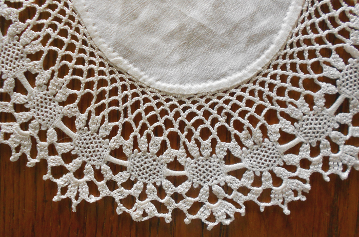 Vintage Hand Crochet And Cotton Cloth Doily With Pineapple