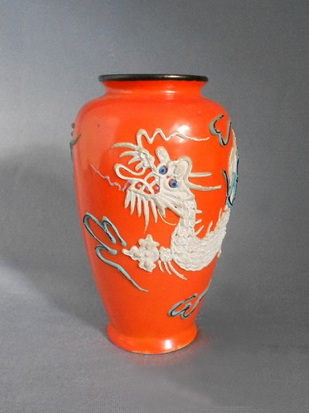 1930s 1940s Vintage Orange Dragonware Porcelain Moriage Vase 1 Japan In Vases Amp Planters