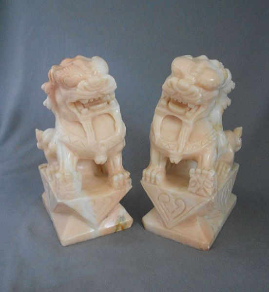 Vintage Chinese Hand Carved Pink Marble Foo Dogs Awesome