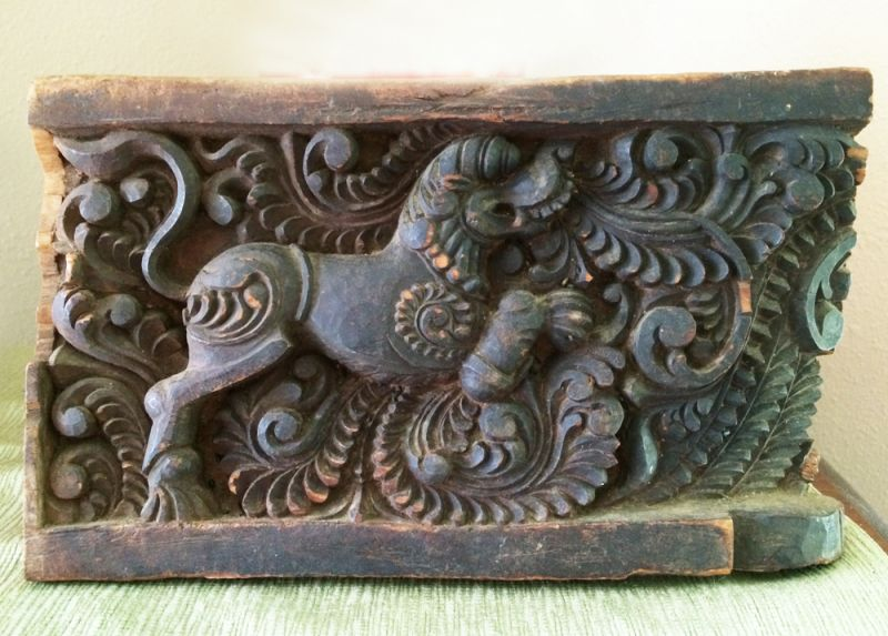 Antique asian hand carved wood foo dog panel