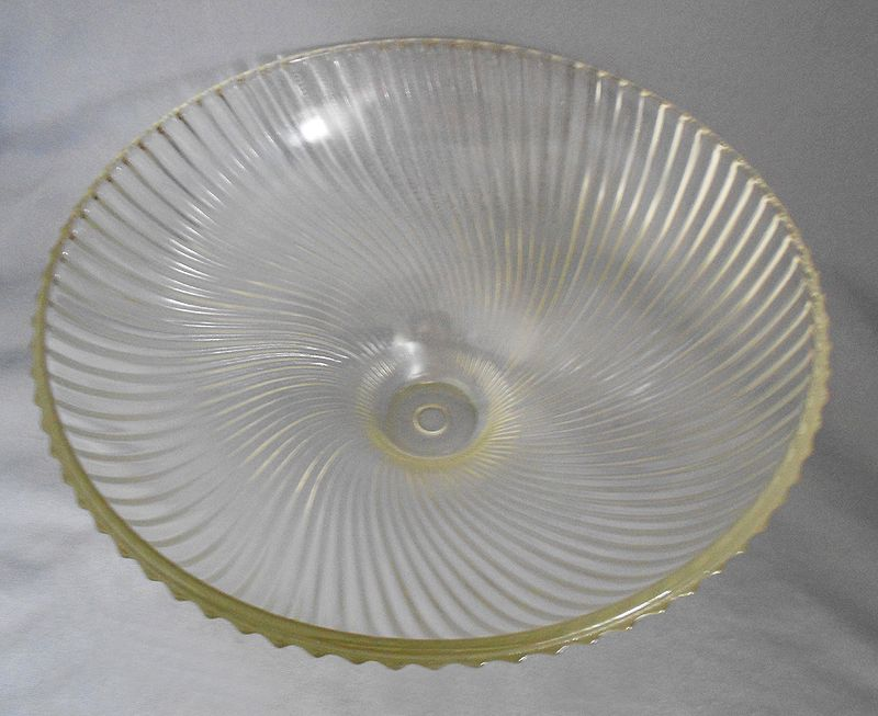 S Vintage Holophane Swirled Ribbed Glass Ceiling Light Cover - 1950's kitchen light fixtures