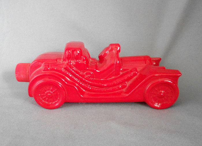 1970s vintage avon red glass car after shave cologne bottle in x
