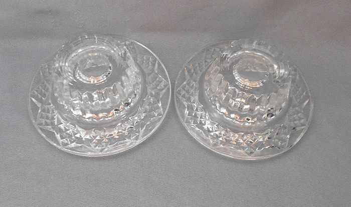 Pressed Pattern Vintage Glass Candle Holders In X Sold Gallery