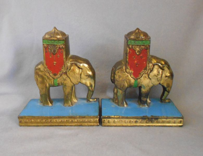 1923 Antique Signed Aronson Art Deco Enamel Metal Elephant