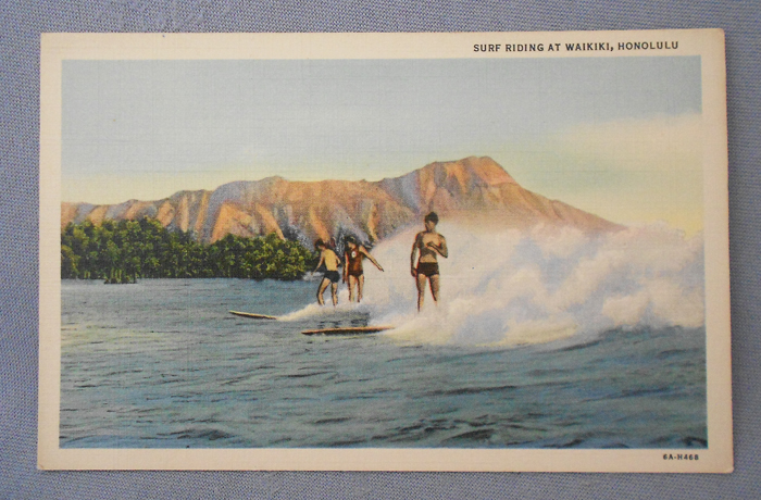1930 Vintage Hawaii Postcard 'Surf Riding at Waikiki Honolulu'