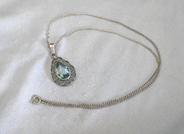 Sterling silver necklace with large aquamarine pendant in necklaces vintage sterling silver necklace with large aquamarine pendant in necklaces and pendants aloadofball Choice Image