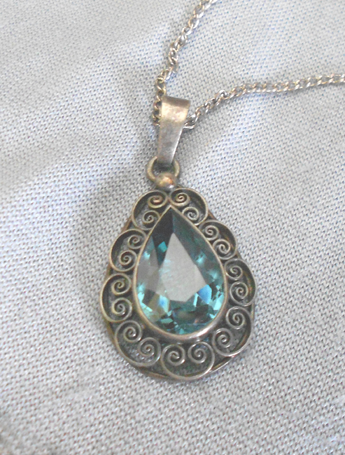 Necklaces and pendants at cool old stuff for sale vintage collectibles vintage sterling silver necklace with large aquamarine pendant in necklaces and pendants aloadofball Choice Image