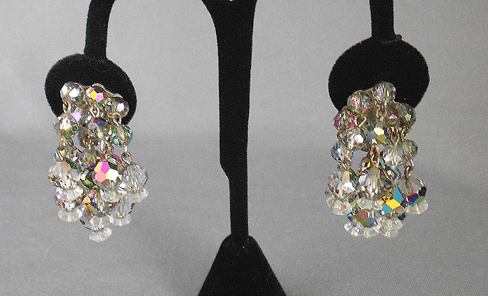 1950s Vintage Aurora Borealis Dangle Cer Crystal Earrings In X Sold Gallery