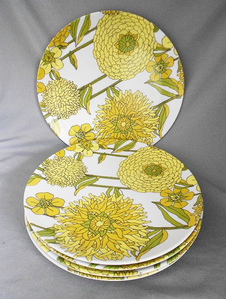 1960s Vintage Texas Ware Melamine Plates Yellow And Green
