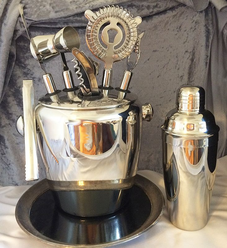 Stainless Bartender Tool Set With Ice Bucket Tray And Tail Shaker Excellent In X Sold Gallery