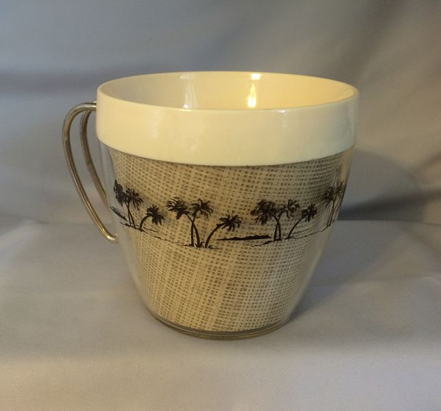 1960s Vintage Thermal Coffee Cups With Burlap And Palm