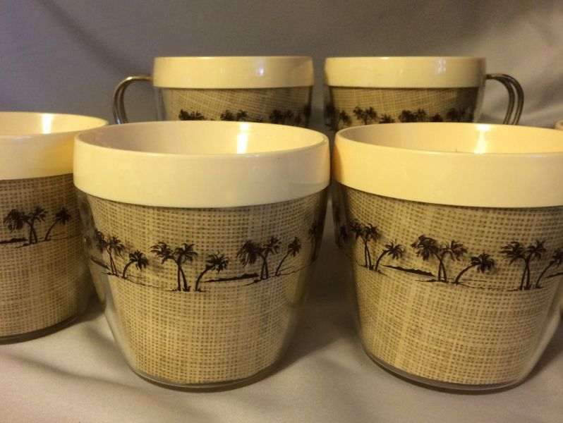 1960s Vintage Thermal Coffee Cups With Burlap And Palm Trees Nfc Usa In X