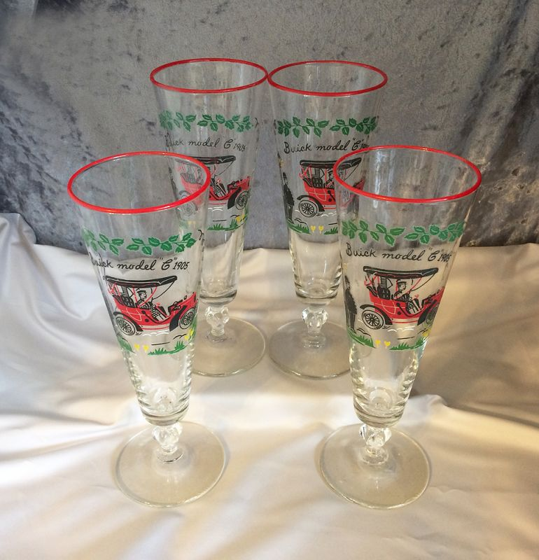 1950s Vintage Libbey U0027Buick Model C 1905u0027 Antique Car Pilsner Beer Glasses,  Set