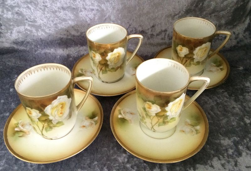 R S Germany Porcelain Demitasse Cups And Saucers With