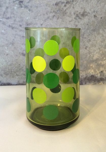 1970s Vintage Green Polka Dot Beverage Glasses Set Of