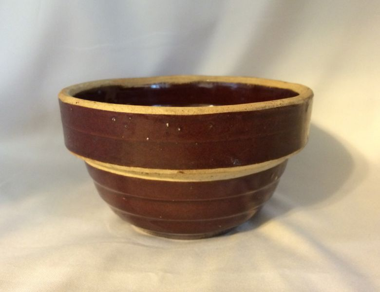 Four Antique Yellow Ware Bowls With Brown Glaze Usa 5
