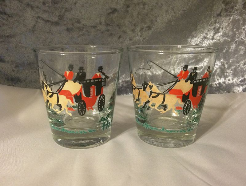 1950s Vintage Pair Mid Century Barware Rocks Gles Libbey Horse Carriage In X Sold Gallery