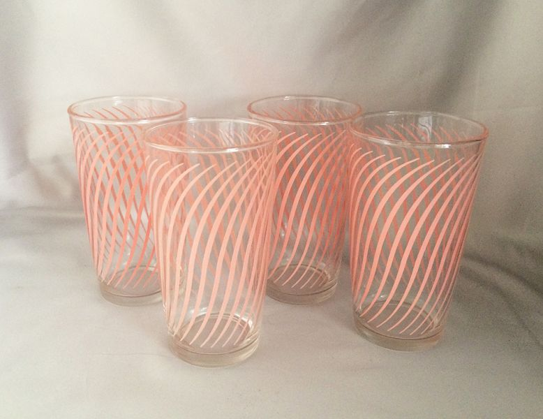 Vintage 1950s Pink Swirls Striped Beverage Drinking