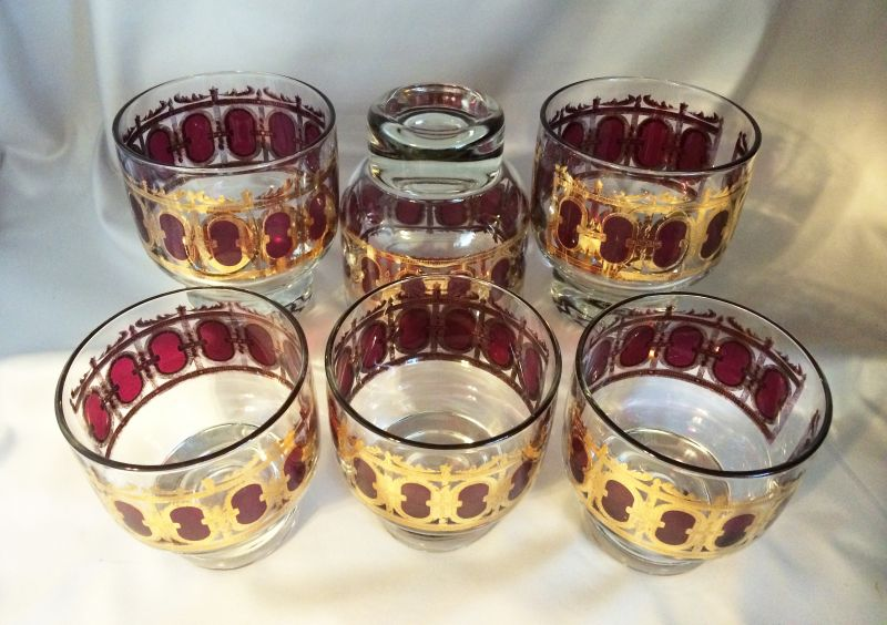 Awesome 1960s Vintage Culver Bar Glasses Cranberry Scroll Gold, Set Of Six 1960s  Culver Glassware, ...