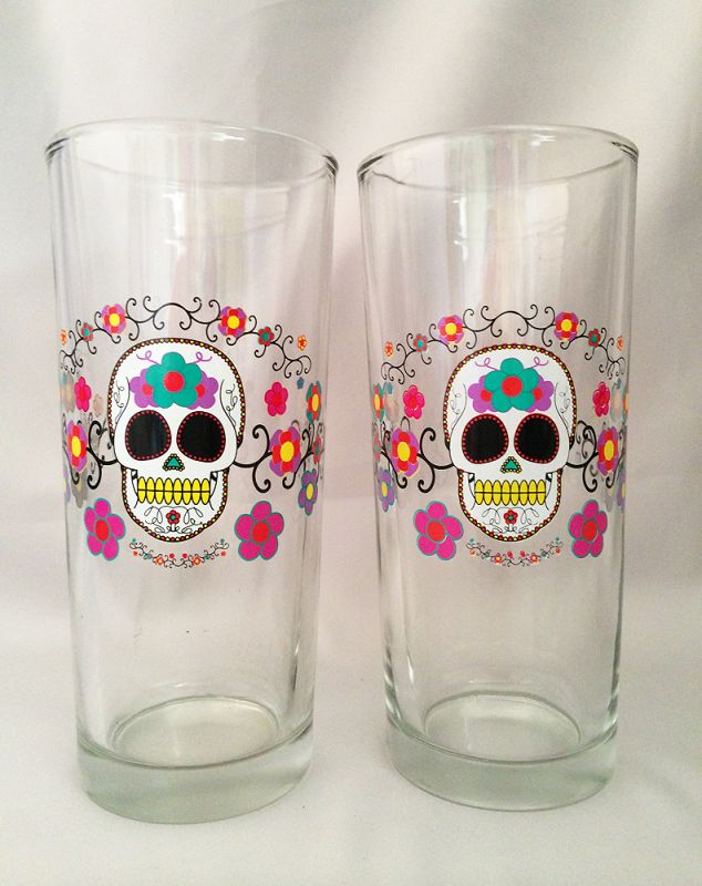 Amazing Vintage Halloween Sugar Skull Barware Drinking Glasses, Vintage Day Of The  Dead Glass Glassware In X SOLD GALLERY