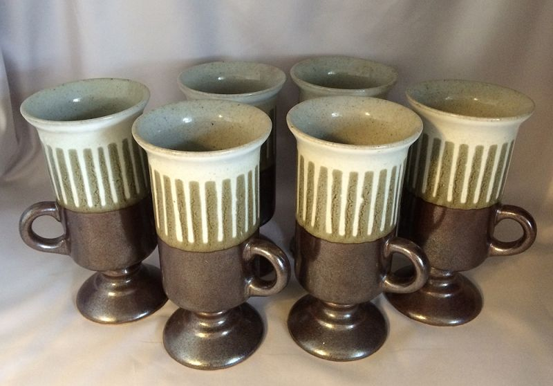 1970s Vintage Otagiri Stoneware Irish Coffee Mugs Six