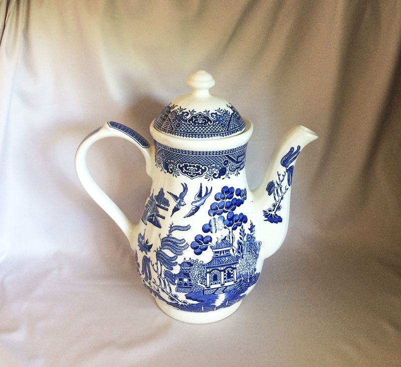 Vintage Blue Willow Tall Coffee Pot Churchill England Staffordshire China White Chinoiserie Decor In