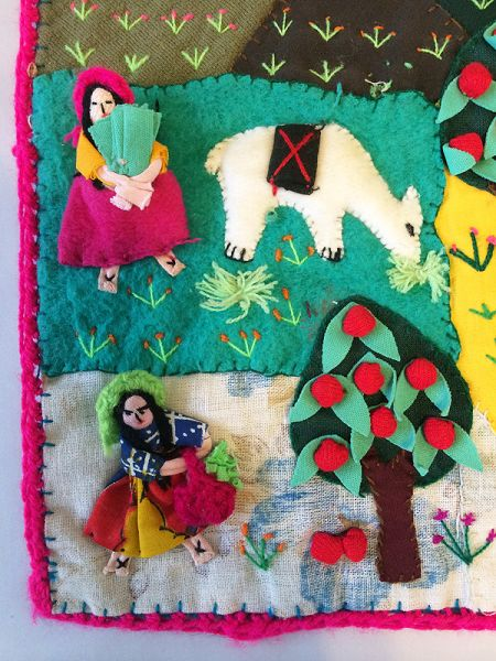 1980s Vintage Peruvian Folk Art Applique Tapestry Wall