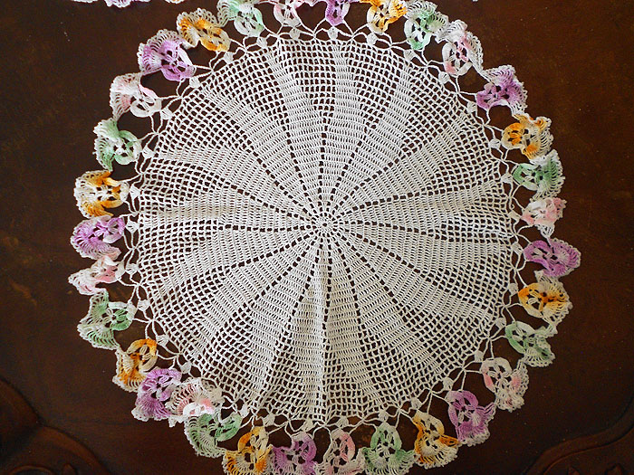 Gorgeous Set Of Three Hand Crochet Pansy Flower Doilies