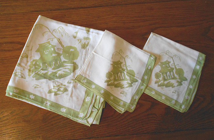 Vintage Silk Tablecloth And Napkins, Japanese Garden Print In X SOLD GALLERY