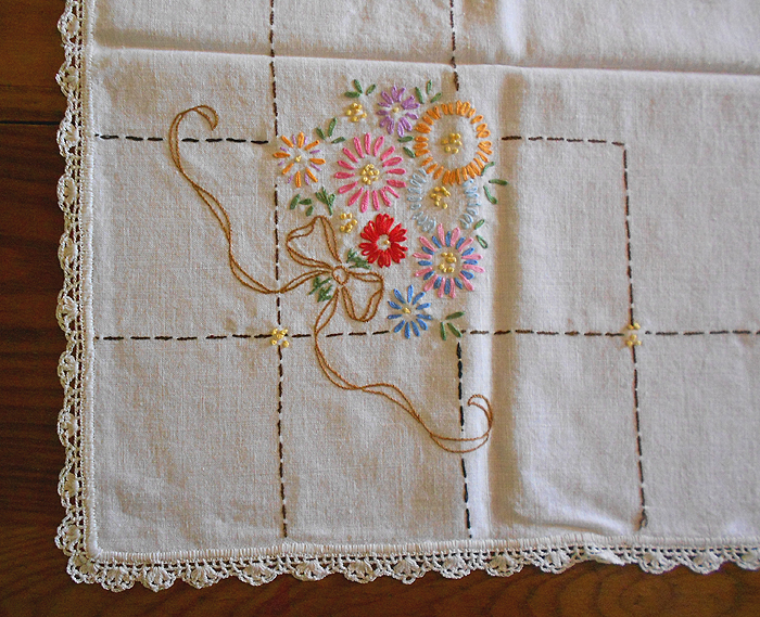 Vintage Hand Embroidered Linen Tablecloth With Crochet
