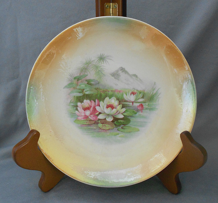 1900s antique lusterware porcelain display plate with lotus blossoms germany in display plates - Decorative Christmas Display Plates