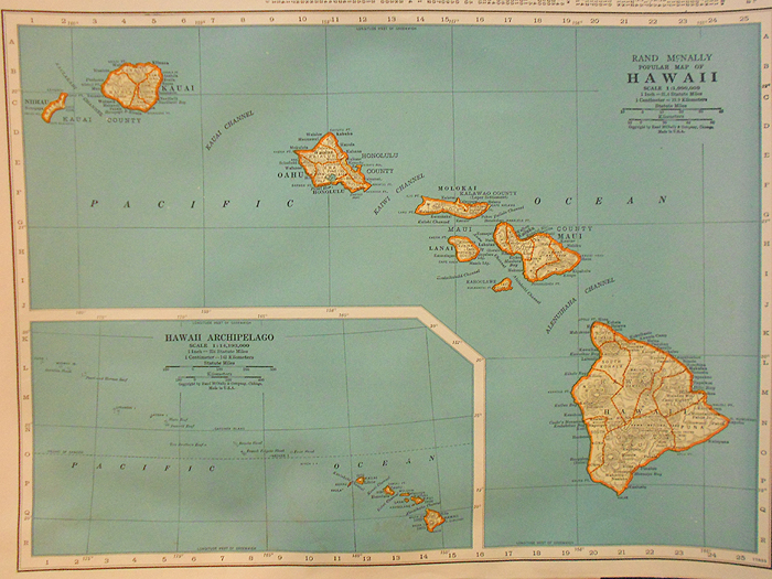 Vintage 1920s Hawaii Map In X Sold Gallery