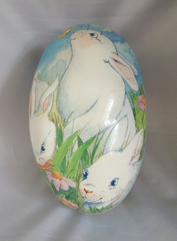 2b958d4cab 1990s Vintage Sees Candies Paper Easter Egg Box with White Bunnies