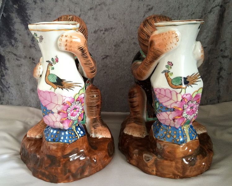 Awesome Pair Vintage Chinese Hua Ping Tang Zhi Hua Ping Hall Hand Painted Enameled Porcelain