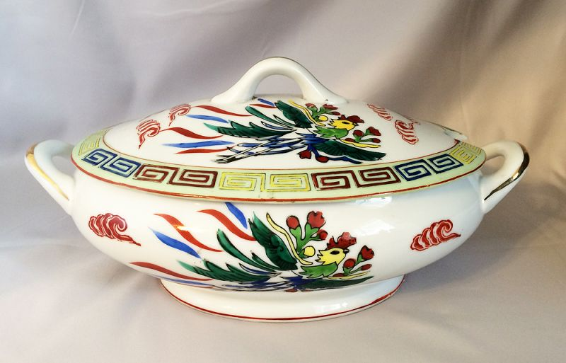 1920s-1940s Vintage Chinese Japanese Restaurant Ware Porcelain Soup Tureen Serving Bowl with Dragon & 1920s-1940s Vintage Chinese Japanese Restaurant Ware Porcelain Soup ...