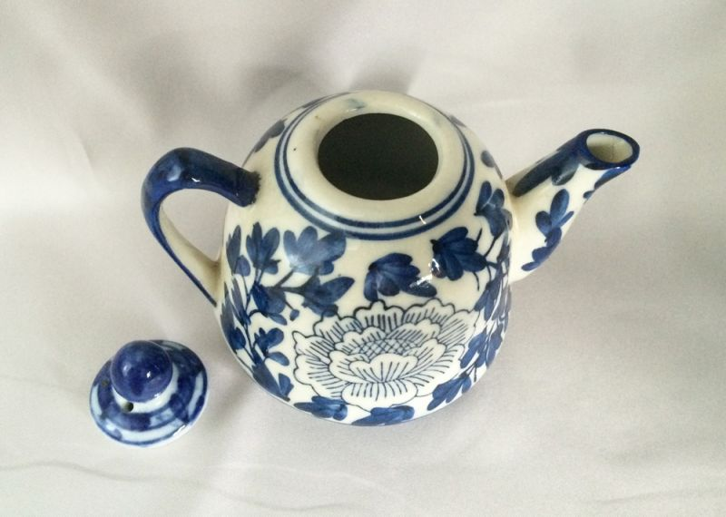 Vintage Blue And White Chinese Teapot Individual Single