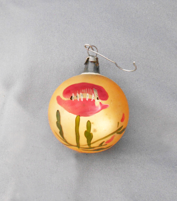 1930s Vintage Poland Blown Glass Christmas Ornament With Red Poppy Flower On Gold In X Sold