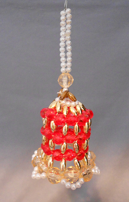 S vintage bell shaped beaded christmas ornament in