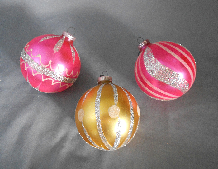 1960s vintage germany trio of glass christmas ornaments pink and gold in ornaments european glass
