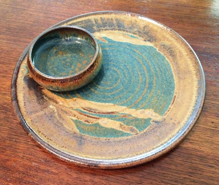 1970s Vintage Stoneware Chip And Dip Serving Platter Plate