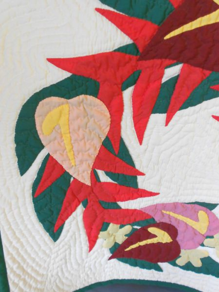Authentic Hawaiian Tropical Floral Art Quilt In X Sold Gallery