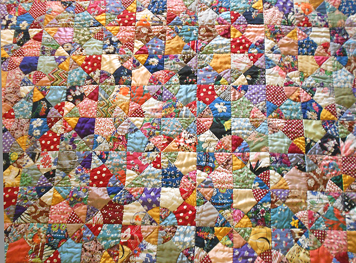 Antique Hand Pieced & Hand Stitched Scrap Quilt in the Snowball or ... : hand sewn quilt patterns - Adamdwight.com