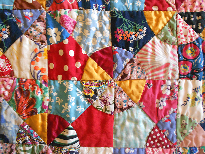 Antique Hand Pieced & Hand Stitched Scrap Quilt in the Snowball or ... : cool quilts for sale - Adamdwight.com