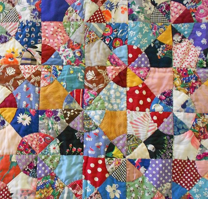 1930s Antique Hand Pieced Amp Hand Stitched Scrap Quilt In