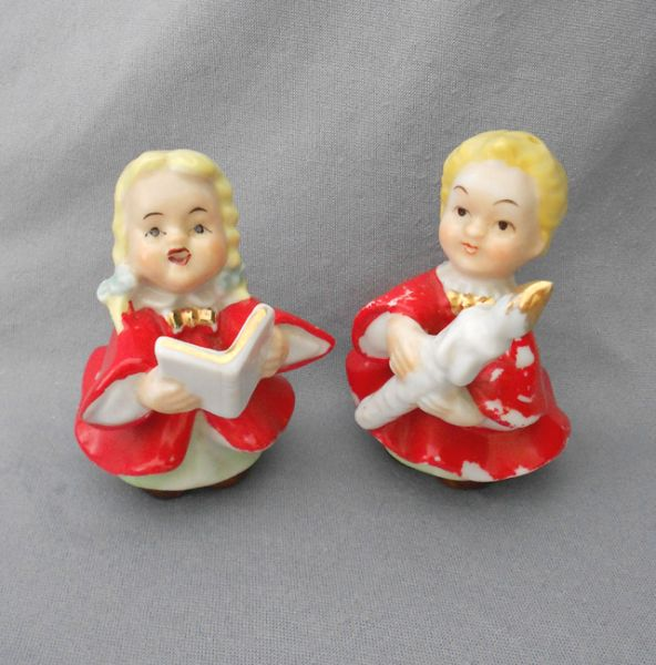 Vintage Ceramic Christmas Carolers Choir Boy And Girl: 1940s Vintage Porcelain Children Christmas Carolers Salt