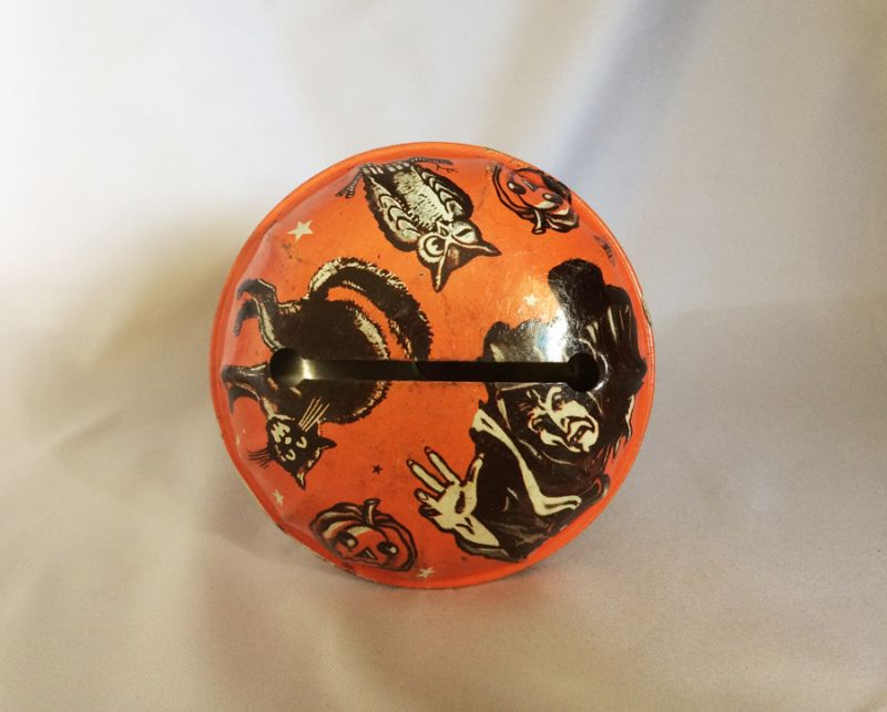 1950s vintage us metal toy halloween noisemaker tin litho metal toy ghoul black cat owl