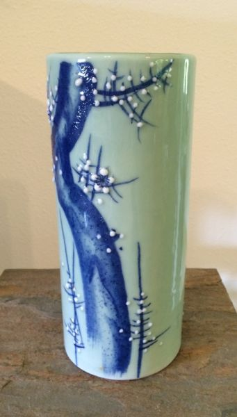 1940s Vintage Hand Painted Japanese Celadon Green And Cobalt Tall Cylinder Vase With Moriage