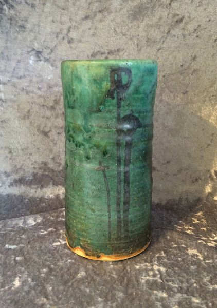 Studio Wheel Thrown Stoneware Art Pottery Cylinder Vase In Aqua Green And Blue Signed In X Sold