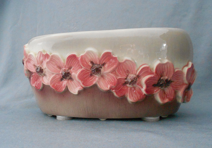 1940s Royal Copley Vintage Pink And Brown Dogwood Floral Planter