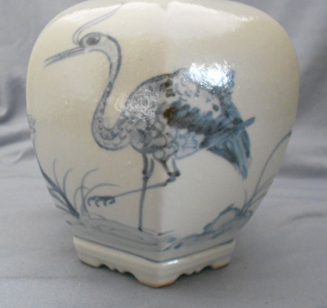 Vintage Artist Signed Hand Painted Japanese Art Pottery Cobalt Stoneware Vase With Heron And